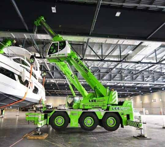 Lee Lifting Services's LTC1050-3.1 working at ExCel Exhibition in London for Boat Show.