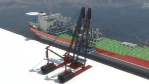 Artistic Impression of AL.SK700 lifting modules onto ship.