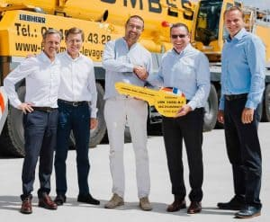 (L-R) Guy Bellec and Francis Ebert of Liebherr, Benoît Bezombes of Bezombes Niort, Christoph Kleiner and Georg Reinbold of Liebherr