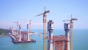 Photos of Zoomlion tower crane working on Pingtan bridge in China.